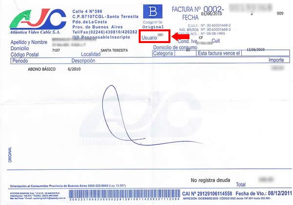 Ejemplo Factura de Abono de Atlántica Video Cable SA